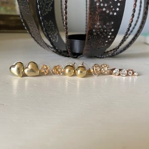 Set of 6 gold and sparkle earrings
